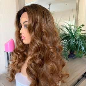 BROWN OMBRÉ FREE PARTING LACE CURLY WAVY WIG